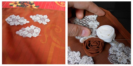 bunga ros fabric di antara lace.untuk tutorial bunga klik SINI