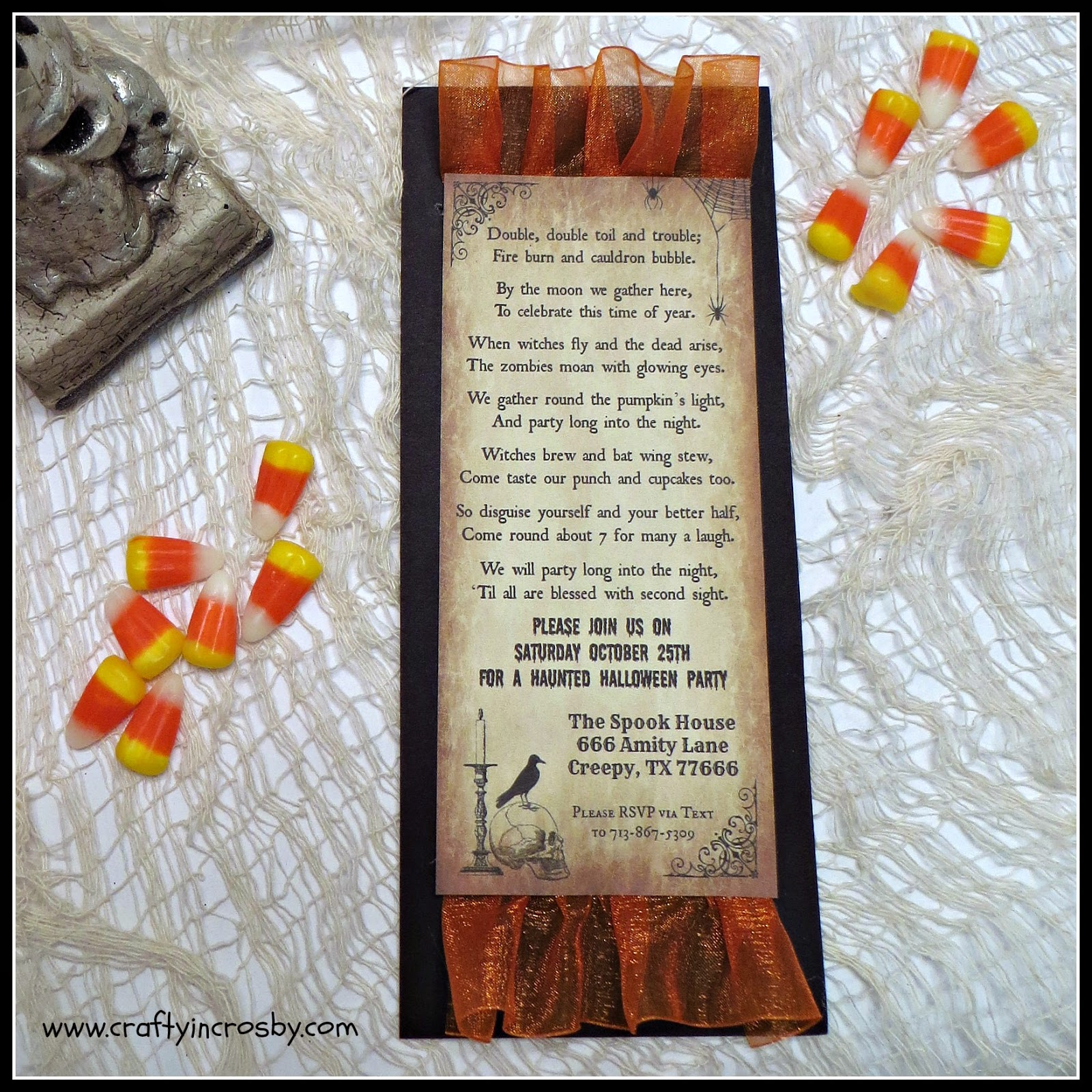 Halloween Party Invite Poem | Crafty In Crosby Halloween Party Invitation 2014