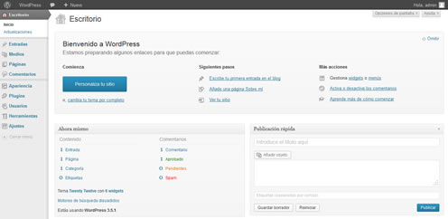 WordPress instalado en nuestra computadora