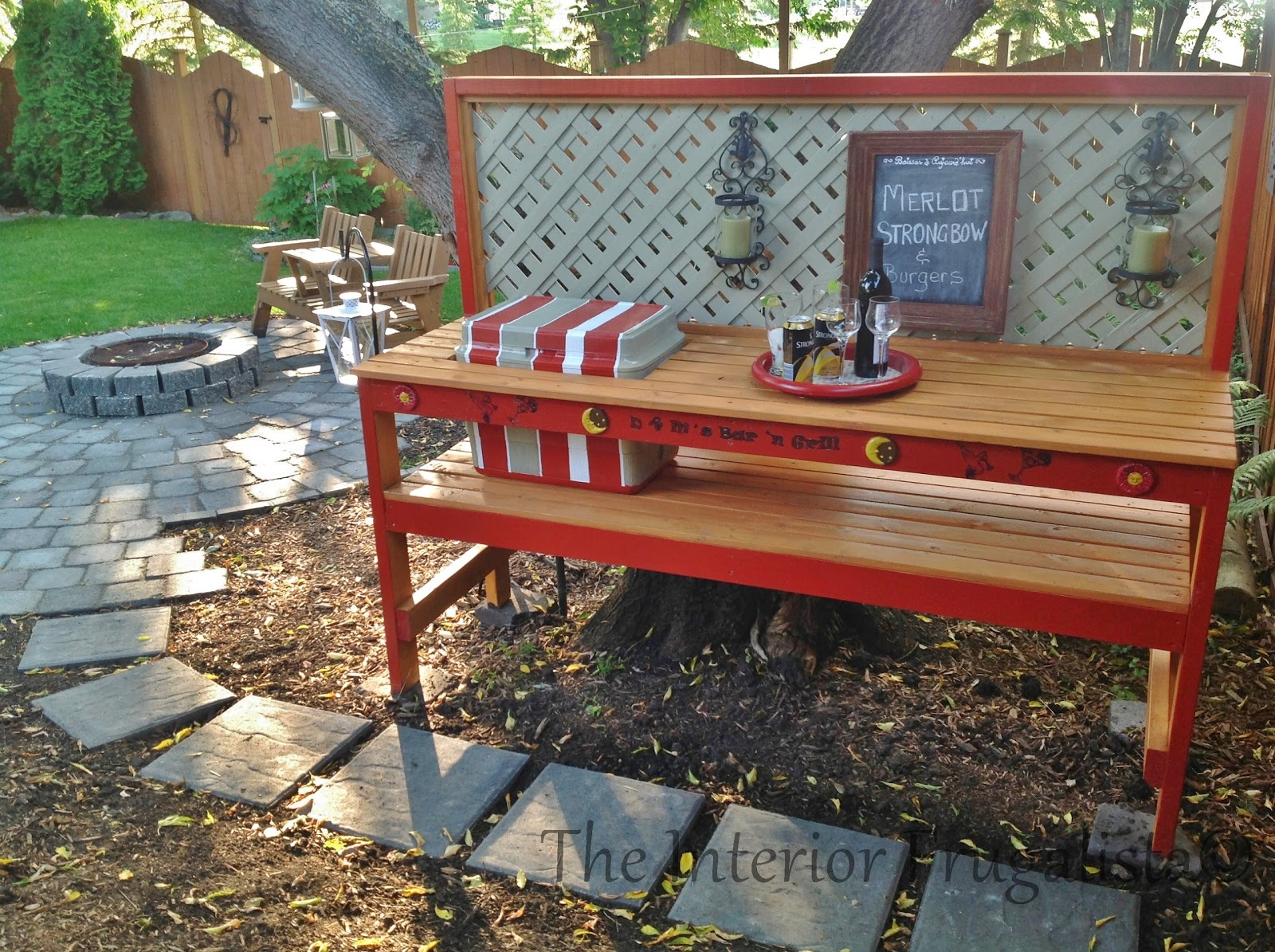 Diy potting bench and outdoor bar the interior for Simple outdoor bar