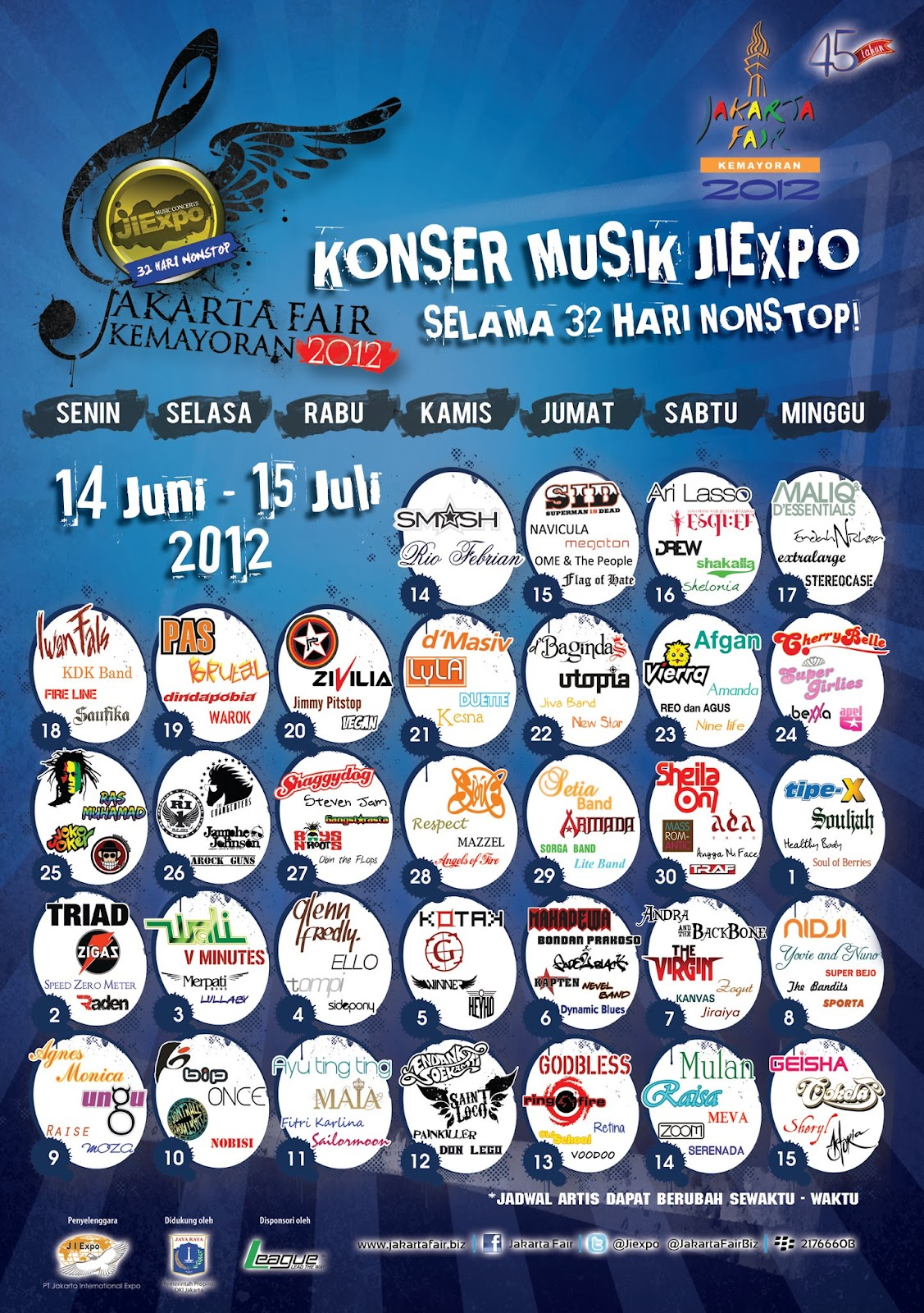 Jadwal Konser Musik PRJ 2012