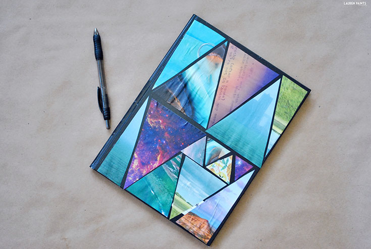 DIY Abstract Geometric Triangle Composition Notebook