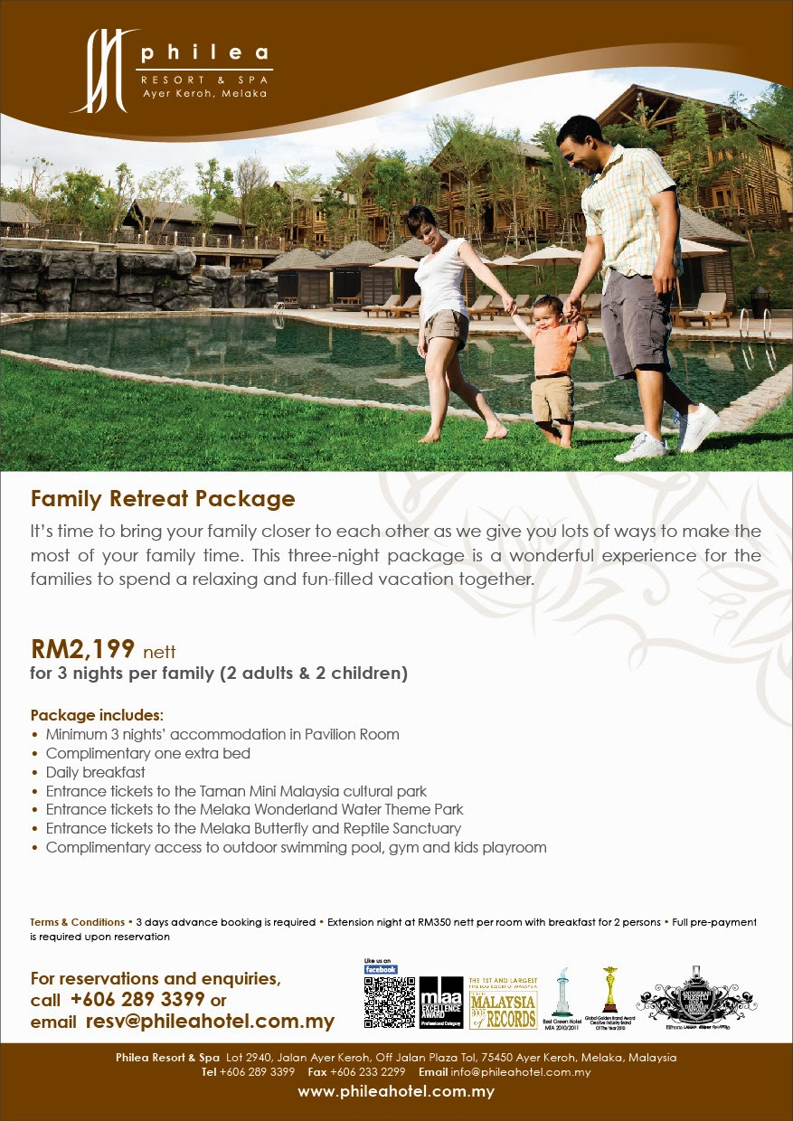 Philea Family Retreat Package RM2,199 nett for 3 nights per family (2 adults and 2 children)