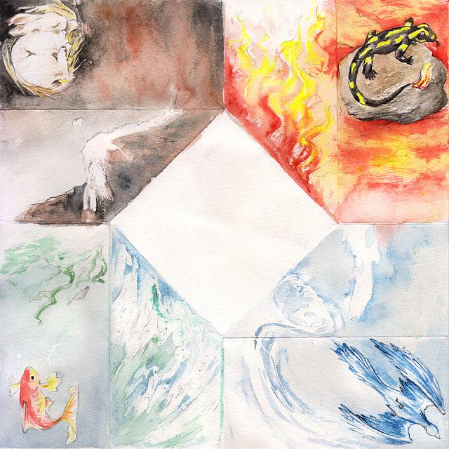 la carte dépliée, avec les animaux et la représentation des éléments.