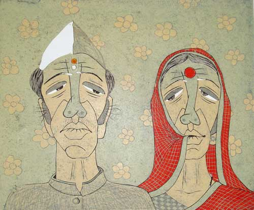 graphic print, printmaking, woodcut, upcoming artist, yogesh aadkine, couple, debut solo exhibition