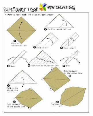 Sunflower origami leaf