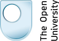 Open University logo: Blue shield with a hole and text.
