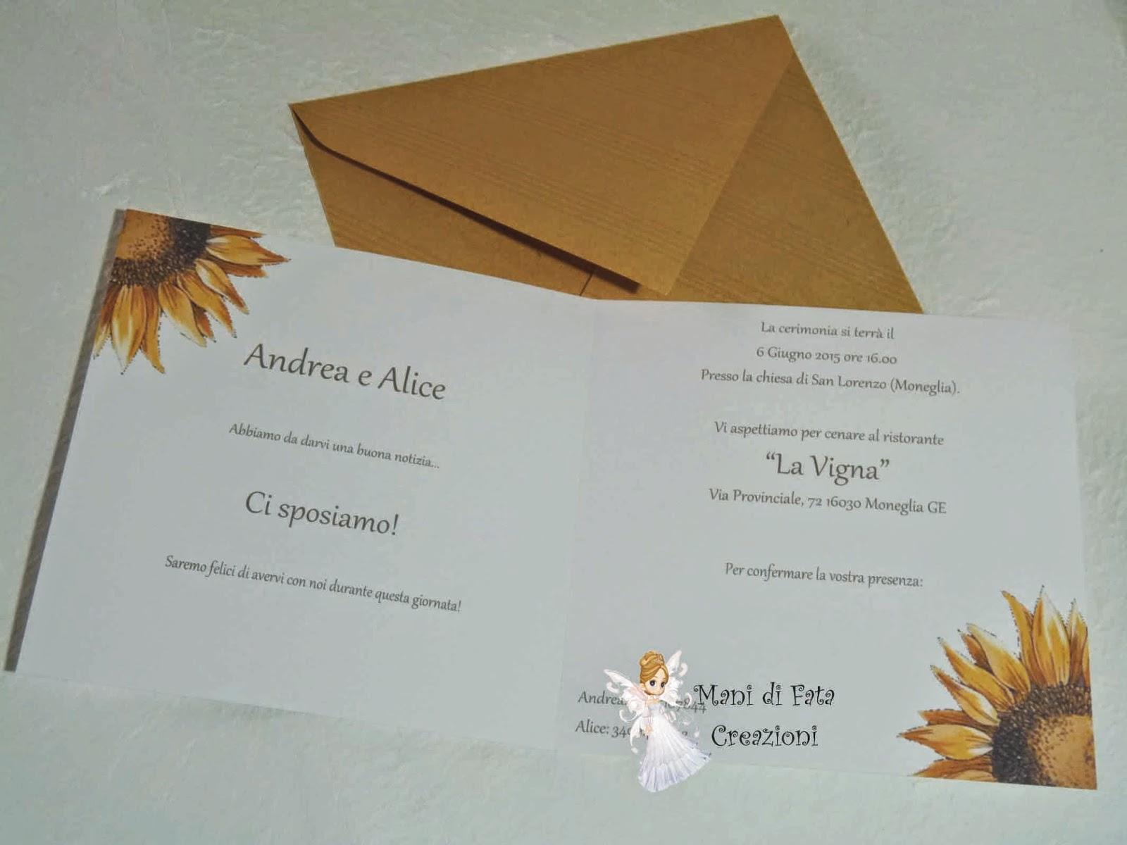 Partecipazione Matrimonio Girasoli : Mani di fata creazioni partecipazione matrimonio rustica