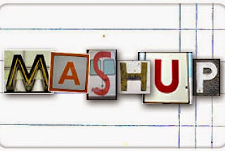 "Text ""Mash Up"" in letters from various fonts on a lined background"