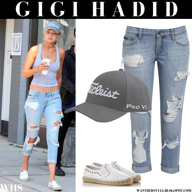 Gigi Hadid in grey tank top and distressed boyfriend jeans