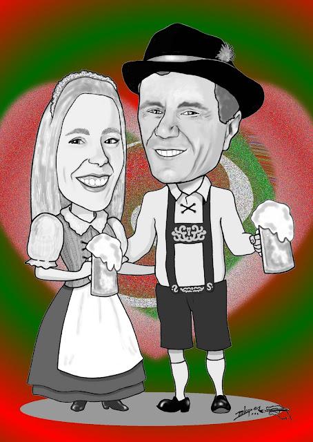 Caricatura de noivos para caneco de chopp