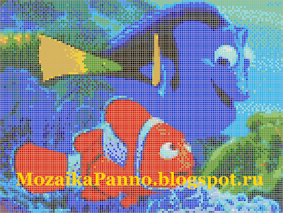 Эскиз картины из стеклянной мозаики — «Немо и его друг»