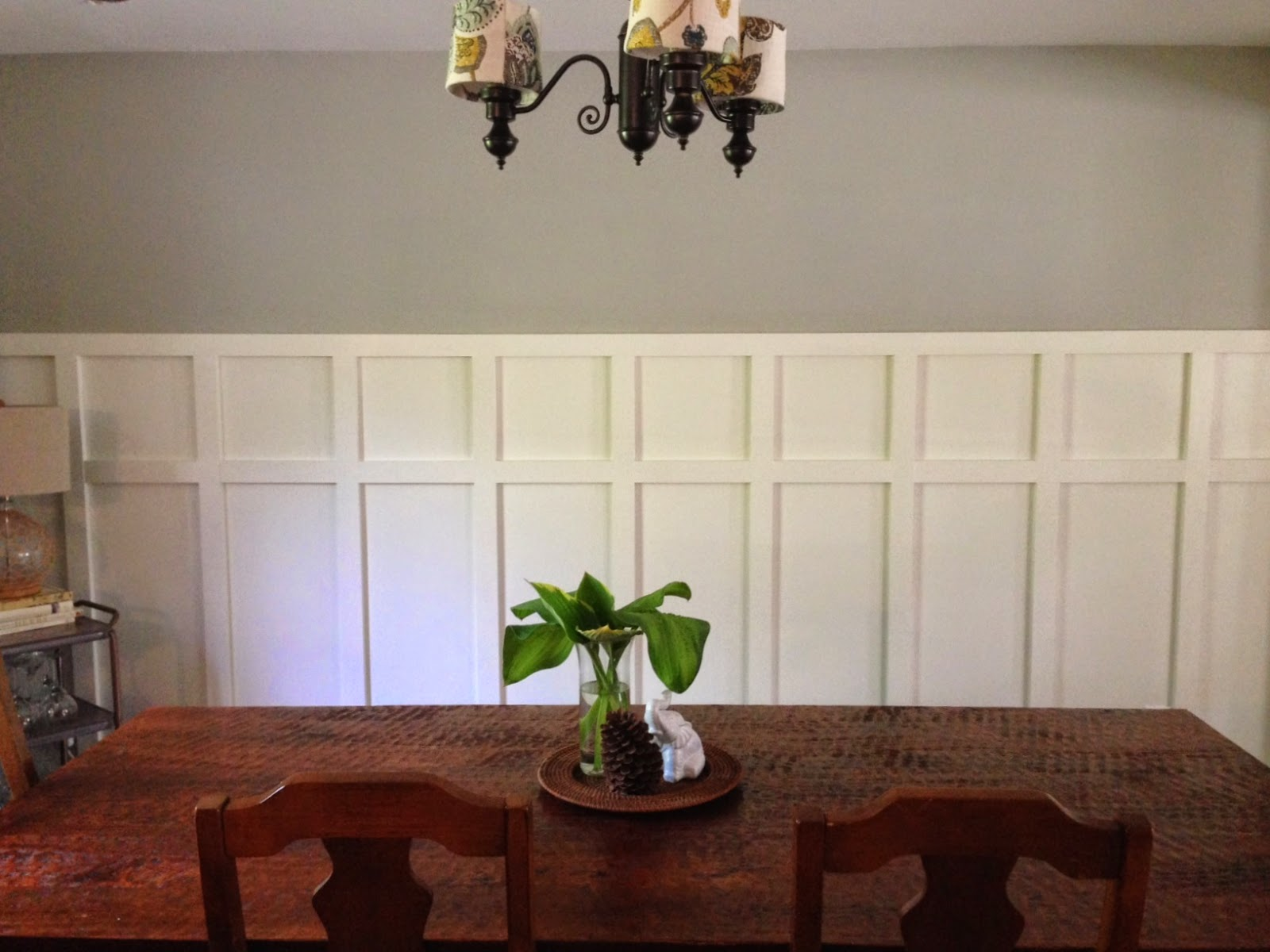 Home made modern square wainscoting in the dining room for Dining room wainscoting
