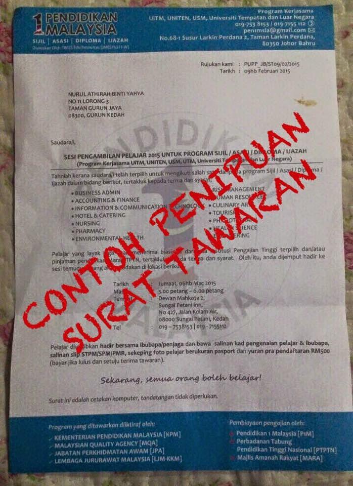 Contoh Penipuan Surat Tawaran Ke IPTA