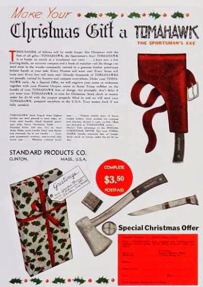 Propaganda dos machados Tomahawk como presente de Natal dos anos 40.