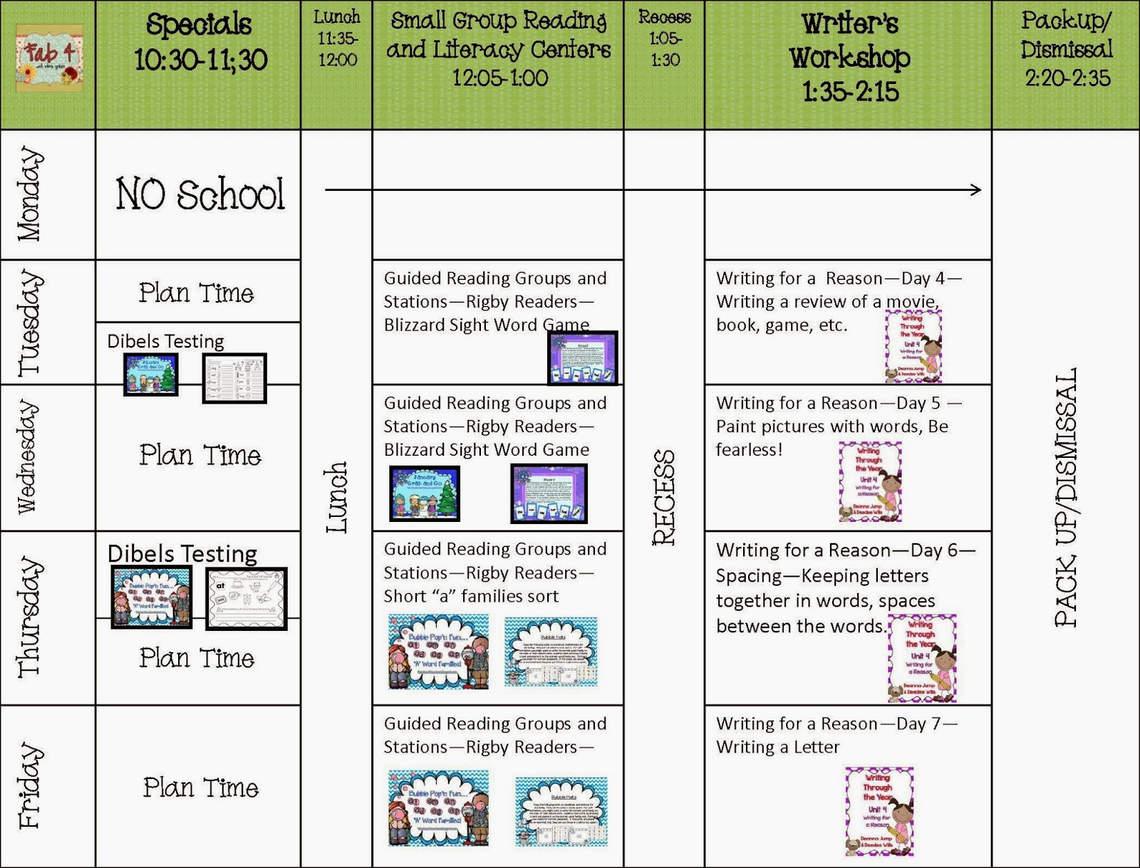 Lesson Plans for the week of January 21, 2014
