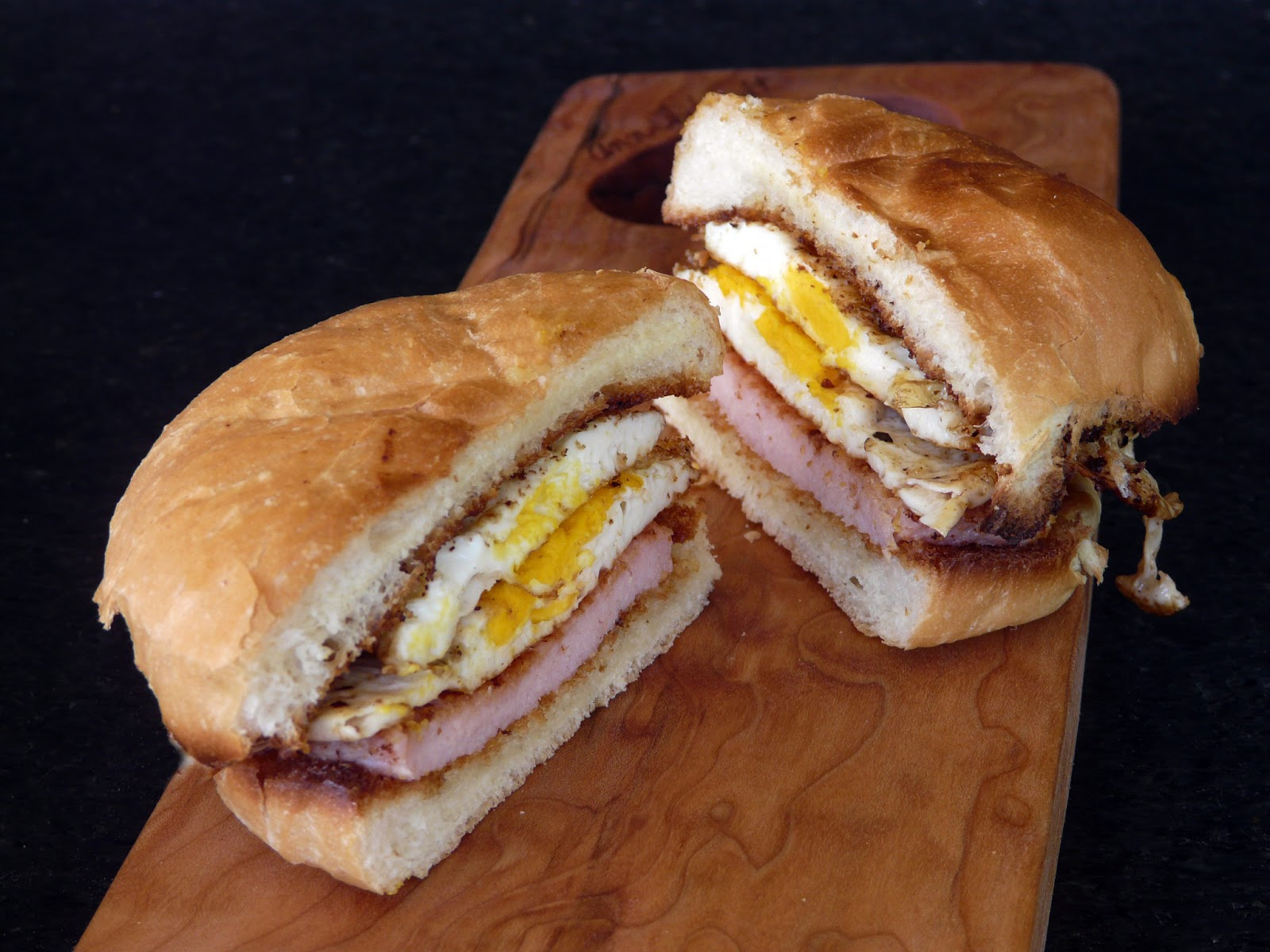 Peameal Bacon and Fried Egg Sandwich.