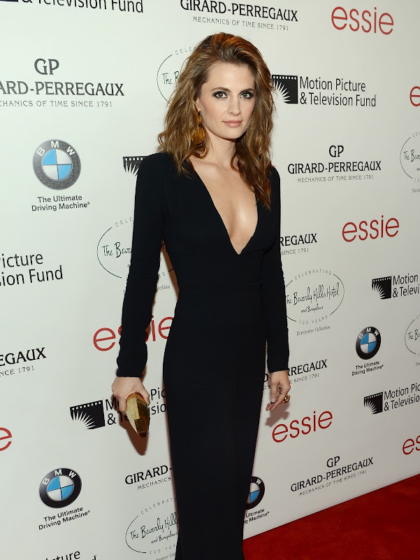 Stana Katic -wearing a glamorous black dress