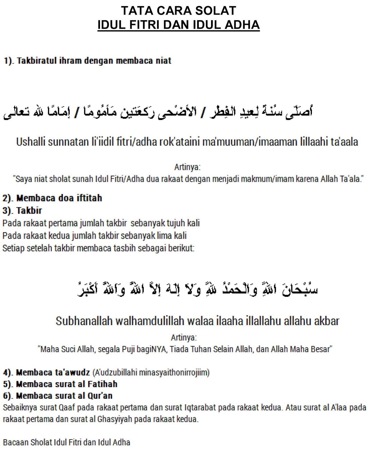 Bacaan Sholat Idul Adha