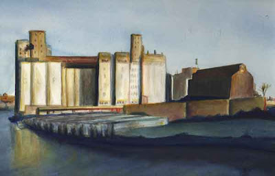 Grain elevators, GLF, Buffalo, NY, Buffalo river, watercolor painting, landscape, patrick Willett, albright knox, Burchfield Penney, Buffalo History Museum, Community Gallery