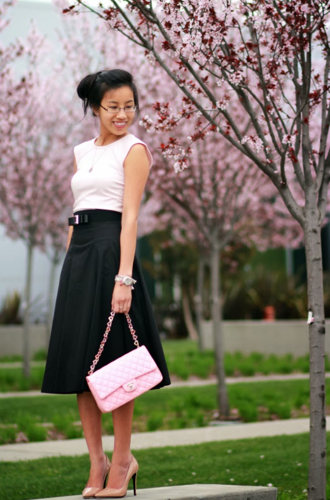 romantic flirty pink black outfit midi full skirt