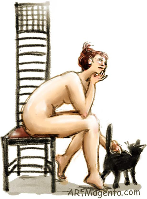 The Hill House Chair is a life drawing painted by artist and illustrator Artmagenta