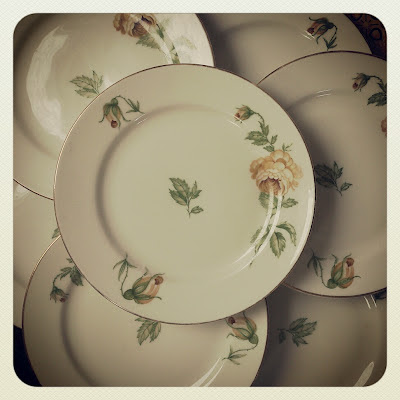 plates, thomas ivory, roses, thrifted, vintage