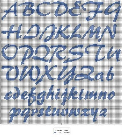Patrones letras punto de cruz baberos - Imagui