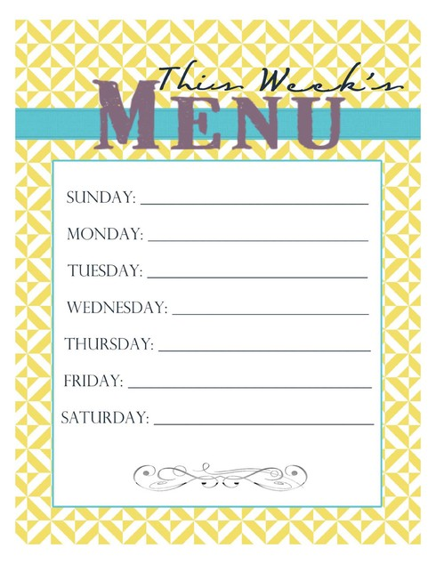 Declarative image for free printable menu planner