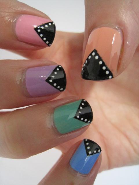 Pastel-nail-art-chevrons-Barry-M-polish