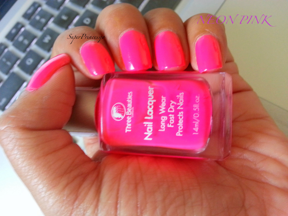 superprincessjo : bright neon pink nail polish three beauties neon