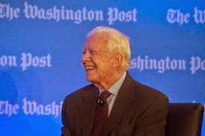 Former president Jimmy Carter, shown here speaking at The Washington Post earlier this month, now opposes construction of the Keystone XL pipeline. (Credit: www.washingtonpost.com) Click to enlarge.