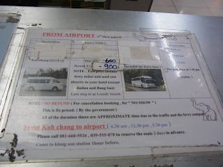 Suvarnabhumi Airport to Koh Chang bus schedule