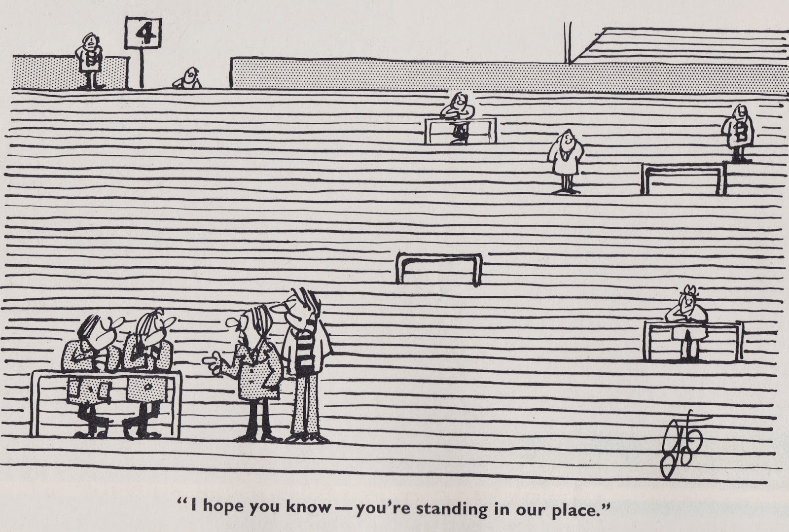 """I hope you know you're standing in our place."" Old school football cartoon."