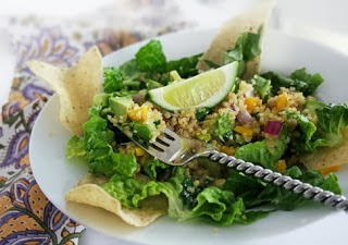 Mexican quinoa tacos or taco salad, www.HealthyFitFocused.com