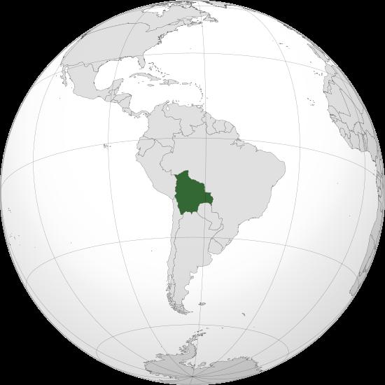 Globo terráqueo: Ubicación de la República de Bolivia en América del sur
