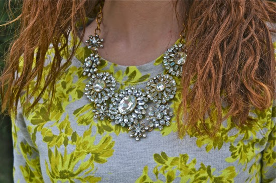 layered flower crystal statement necklace
