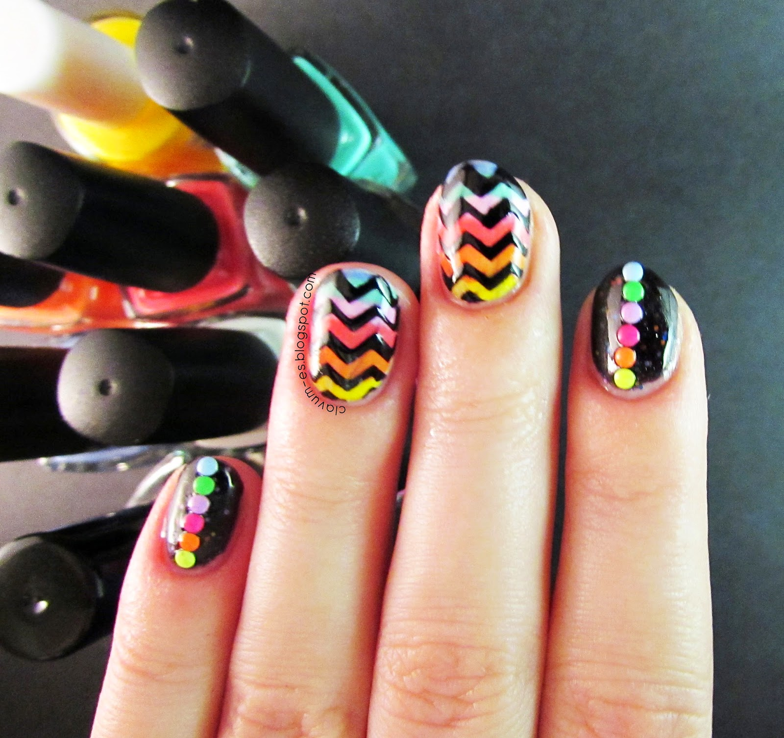 Rainbow Chevron Nail Art