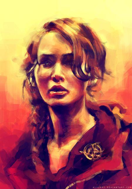 Alice X. Zhang alicexz deviantart pinturas de filmes séries Katniss (Jennifer Lawrence)