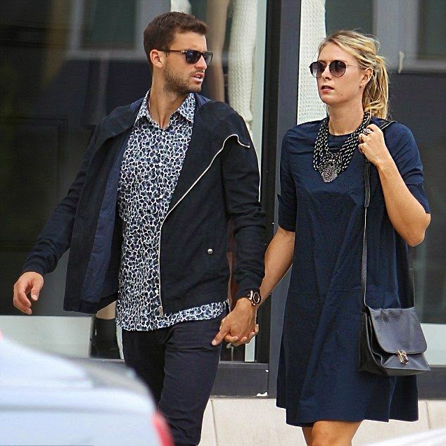 On the sideline of a busy schedule as world number two of tennis female player, Maria Sharapova of Russia with her boyfriend, Grigor Dimitrov seemed engrossed walk in luxury shopping at Rodeo Drive, Beverly Hills, LA, USA on Sunday, December 7, 2014.