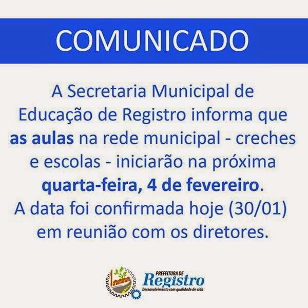 Aulas da Rede Municipal de Registro-SP iniciam dia 04/02