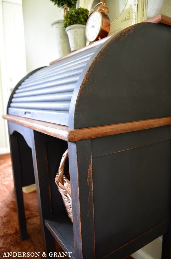 Black Painted and Distressed Rolltop Desk | www.andersonandgrant.com