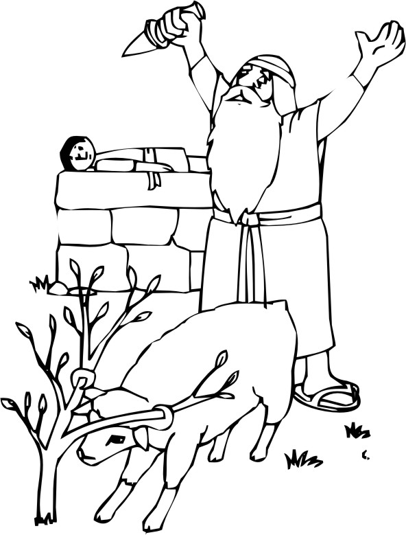 Coloring Pages - Abraham and Isaac 2 title=