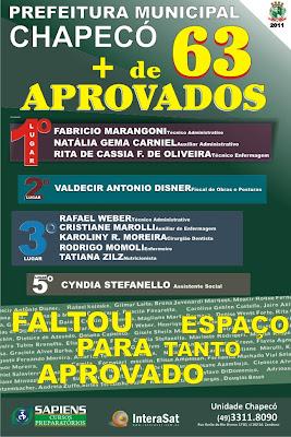 Aprovados - prefeitura de Chapecó