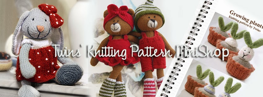 Twins Knitting Pattern Minishop Bunny Bookmark Free Knitting