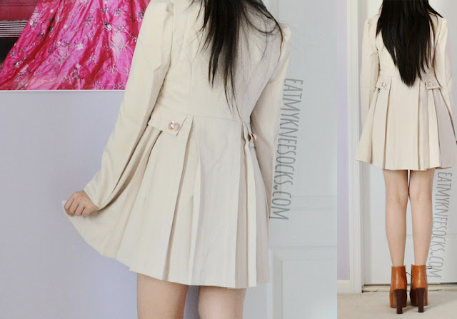 More photos of the sweet, gyaru, ulzzang-esque beige puff-shoulder trench coat from SheIn, worn with high heel platform booties.