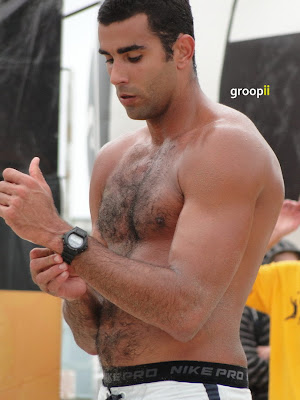 Pedro Salgado Shirtless at Hermosa Beach Open in 2011