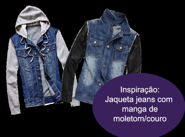Inspiração: Jaqueta jeans com manga de moletom ou couro