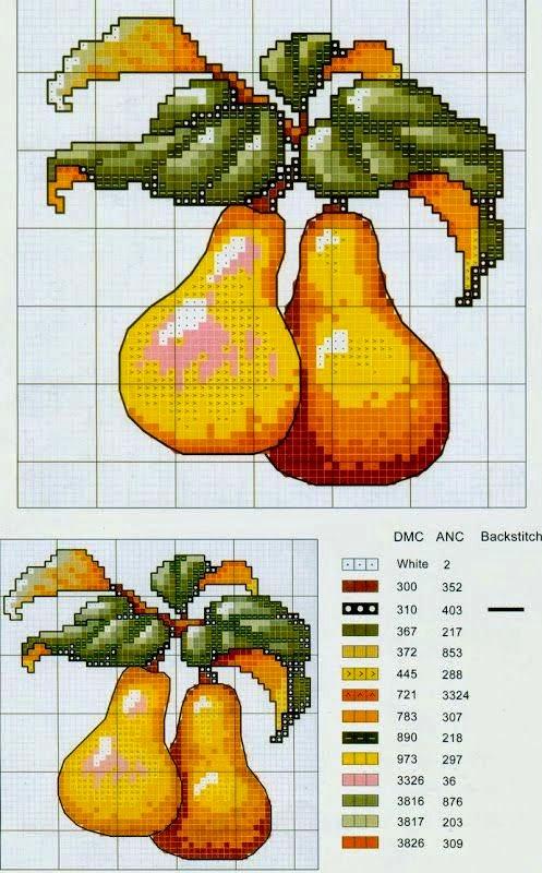 Вышивка крестом овощи фрукты ягоды
