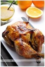 Pollo asado con entretela de naranja